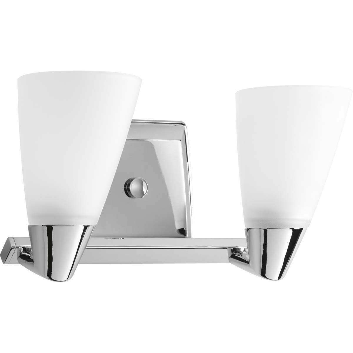 Progress Lighting P2806-15 Rizu Two Light Bath Vanity, Polished Chrome Finish with White Glass