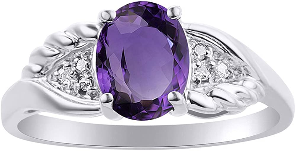 Diamond /& Amethyst Ring Set In Sterling Silver Diamond Wings Design