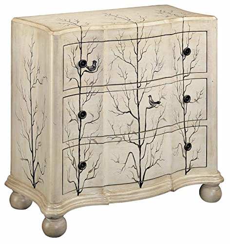 Winter Aviary - Stein World 11303 One 3-Drawer Chest with Hand Painted Aviary Scene on a Cream Finish, 38.25 by 18 by 34.75-Inch