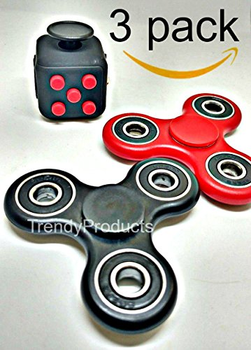 3 PC Red Black Fidget Cube + 2 Pack Black and Red Fidget Hand Spinner Combo Bulk Multiple Tri-Spinner EDC Stress Desk Classroom Fidgeting Brain Focus Desk Toy Reliever Autism Kids Adults Relax