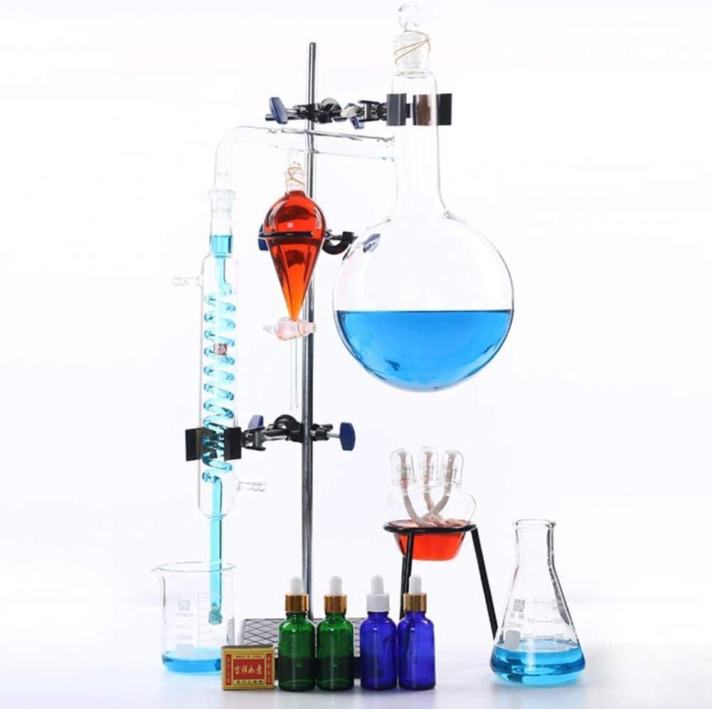 LLDKA Equipo de destilación Set Soporte de Hierro destilación destilación purificación Laboratorio Esencial Aceite Agua Destilador Aparato Cristalería 2000Ml