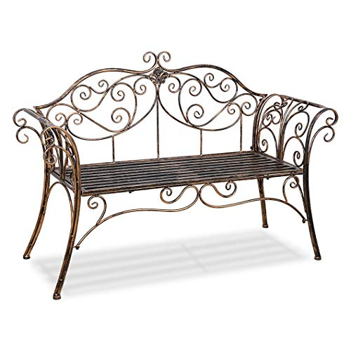CR Outdoor Patio Chair Garden Park Bench Metal Antique Garden Bench with Decorative Cast Iron Backrest