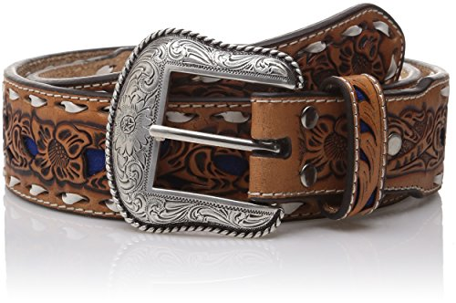 Nocona Men's Natural Blue Wide Buckstitch, 36