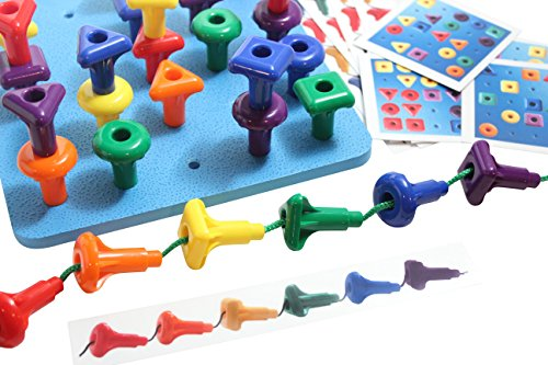 Shape Peg Board Toy - Problem Solving - Pattern Matching Busy Bag with Pegs and Board - Lacing Activity
