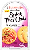 BUMBLE BEE Sensations Spicy Thai Chili Seasoned Tuna with Crackers, Tuna Snack Kit, High Protein Food, Gluten Free Food, High Protein Snacks, Canned Food, Bulk Snacks, 3.6 Ounce Packages (Pack of 12)