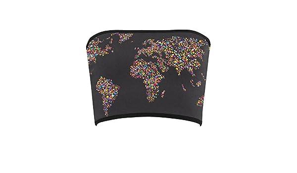 D-Story Custom Bandeau Tops Colorful World Map Bandeau Top Bra Tube Top