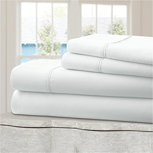Percale Sheets Kids Bedding (Mellanni 100% Cotton Bed Sheet Set - 300 Thread Count Percale - Deep Pocket - Quality Luxury Bedding - 4 Piece (King, White))