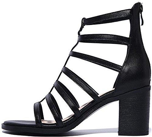 Laruise Sandal Women's Gladiator Heeled Black r4arpx