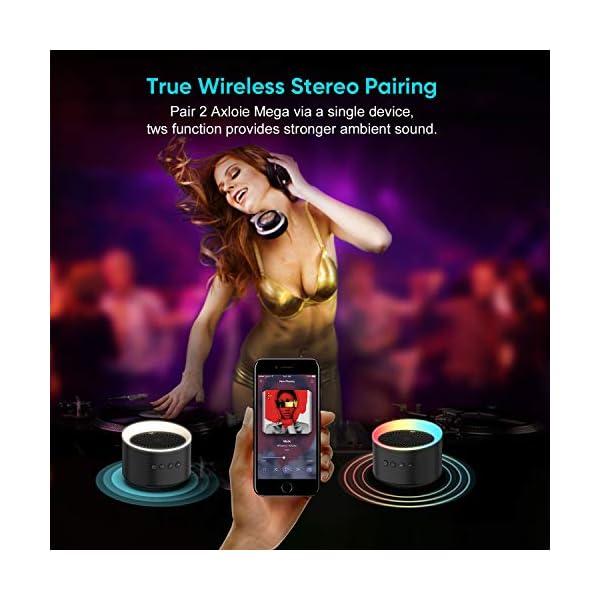 Enceinte Bluetooth Portable TWS AXLOIE Haut-parleur Bluetooth 5.0 sans Fil Basse Profonde Stéréo HiFi pour Carte TF / AUX Appels Mains Libres Micro Intégré 10H de Lecture pour iOS Android Tablette etc 5