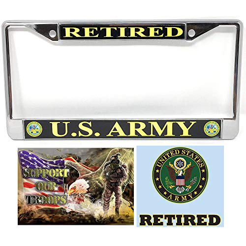 (US Army Retired License Plate Frame Bundle with US Army Retired Decal Sticker/Decal and Support Our Troops Sticker/Decal)
