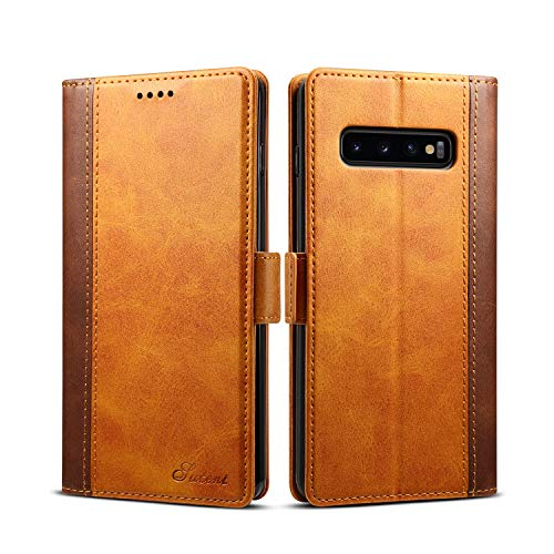 Samsung Galaxy S10 Cover Flip Leather,TACOO Double Color Block Khaki Soft Pu Slim Kickstand Protective Credit Card Money Holder Wallet Case Shell for S10 Samsung 2019 6.1 inches