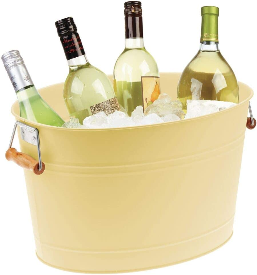 mDesign Metal Beverage Tub & Soda Pop, Beer, Wine, Ice Holder - Portable Party Drink Chiller - 18 Liter Container - Rustic Vintage Farmhouse Oval Storage Bucket - Yellow/Natural Bamboo Wood Handles