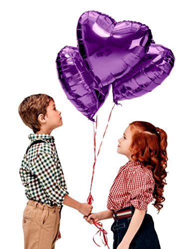 Treasures Gifted Valentines Day Heart Love Decorations in Lavender Purple Foil Mylar Balloons for Birthday Baby Shower Wedding Engagement Party Graduation Supplies (12 Pack) -