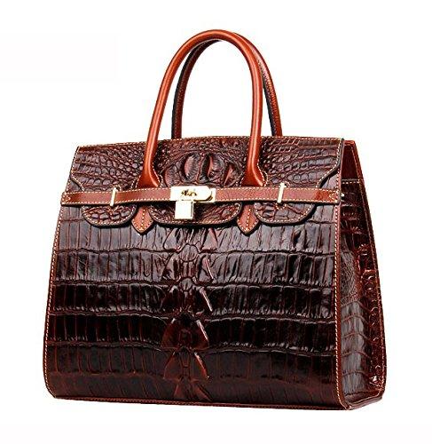 main sac Serviette Cuir à crocodile CARTABLE besace Jsix sac à Marron motif EN bandoulière Femme croco gqw1nxnAS