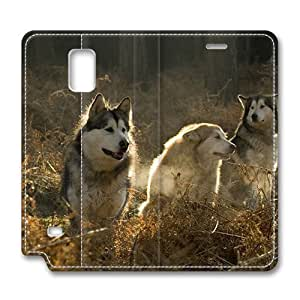 Brain114 Fashion Style Case Design Flip Folio PU Leather Cover Standup Cover Case with Huskies Group In The Forest Pattern Skin for Samsung Galaxy Note 4