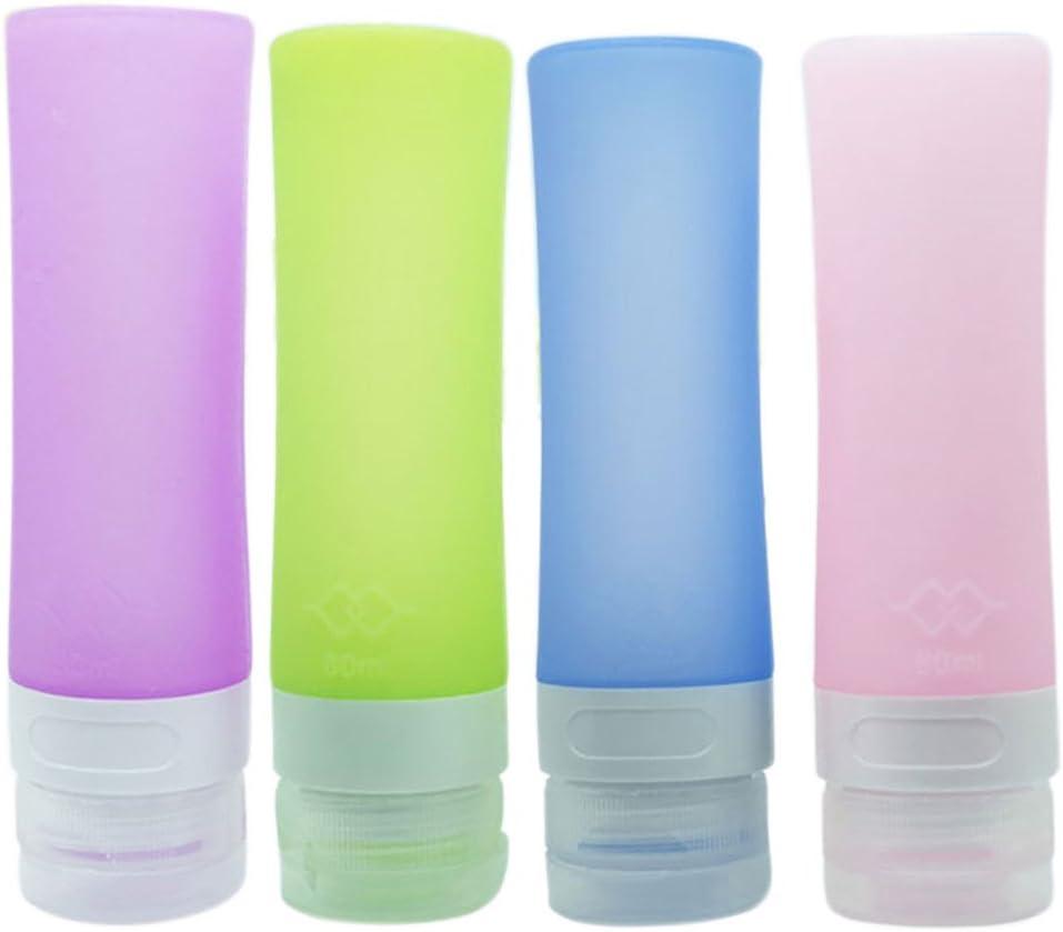 PhantomSky 4 Paquete de Botellas de Silicona de Viaje Conjunto, Anti-Fugas Rellenable Compresible Silicona Botellas de Viaje para Champú, Crema de Baño, Loción, Libre de BPA, FDA Aprobado (80 ml)