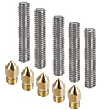 Ivelink M6x30MM Nozzle Throat Teflon Tube and 0.4mm Brass Extruder Print Head for MK8 Makerbot Reprap 3D Printers(Pack of 10pcs)