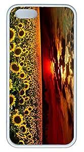 Beautiful Sunflower DIY Rubber White Best Designed iphone 5/5s Case