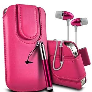 Nokia Lumia 928 premium protección PU botón magnético ficha de extracción Slip Cord En Caso rápida bolsa de la cubierta de piel de bolsillo, Retractable Stylus Pen & Calidad superior en auriculares de botón estéreo de manos libres de auriculares Auriculares con micrófono Mic y botón de encendido y apagado de las rosas fuertes por Spyrox