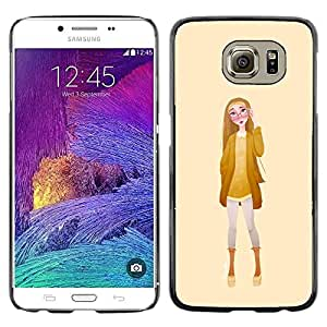 Be Good Phone Accessory // Dura Cáscara cubierta Protectora Caso Carcasa Funda de Protección para Samsung Galaxy S6 SM-G920 // Girl Glasses Fashion Yellow Woman