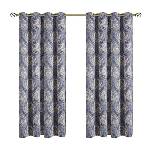 Kotile Home Decor Window Curtain for Paisley Floral Print Blackout Curtains, 2 Panels Floral Design Print Ring Top Thermal Insulated Blackout Curtains Perfect for Living Room, W52 x L84 Inches, Blue -