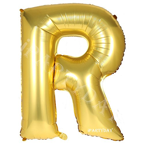Letter Balloons, 40 Inch Giant Gold Letter Balloon, Premium Quality Birthday Party Decorations Jumbo Helium Foil Mylar Balloons (Gold Letter R)]()
