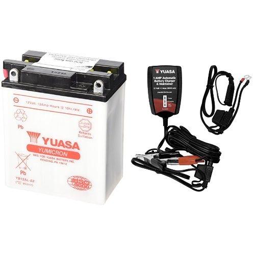 Yuasa YUAM22212 YB12AL-A2 Battery and Automatic Charger Bundle 12 Amp Automatic Battery Charger