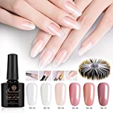 6 Colors Builder Gel Kit, Saviland Soak off Poly Gel UV LED Nail Varnish with Nail Extension Form Stickers