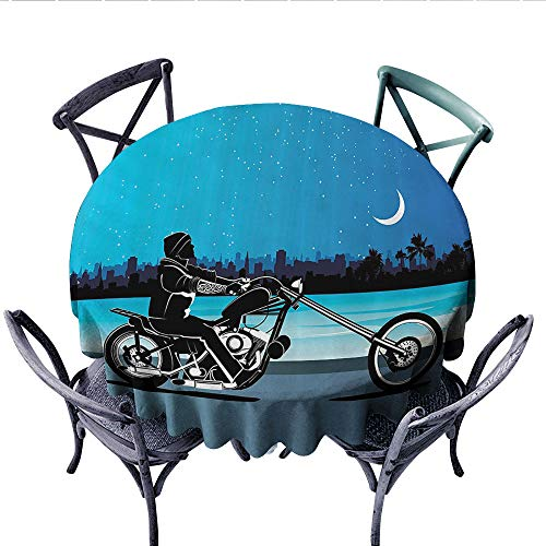 Big Sky Riding Skirt - Motorcycle Decor Customized Round Tablecloth Art with Chopper Motorcycle Biker Riding Under Starry Night Sky Cityscape Silhouette Waterproof Circle Tablecloths (Round, 60 Inch, Black Navy)