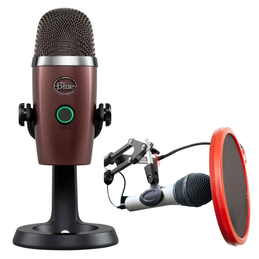 Blue Microphones Yeti Nano Premium USB Microphone Red Onyx (496) with Deco Gear Universal Pop Filter Microphone Wind Screen with Goose Neck Mic Stand Clip