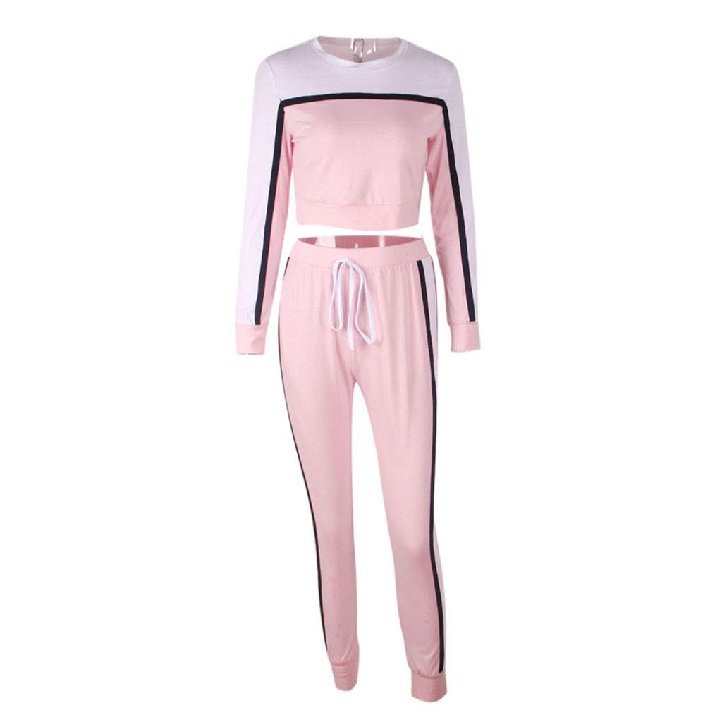 Mlide 2Pcs Women Tracksuit Sweatshirt Pants Sets-Sweatshirt&Pants-Solid Striped Patchwork Sport Long Sleeve Wear Casual Sets(Pink,Large)