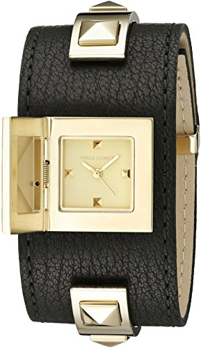 Vince Camuto Women's VC/5236GPBK Gold-Tone Pyramid Studded Black Leather Cuff Bangle Watch (Watch Cuff Studded)