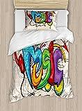 Ambesonne Music Twin Size Duvet Cover Set, Illustration of Graffiti Style Lettering Headphones Hip Hop Theme on Beige Bricks, Decorative 2 Piece Bedding Set with 1 Pillow Sham, Multicolor