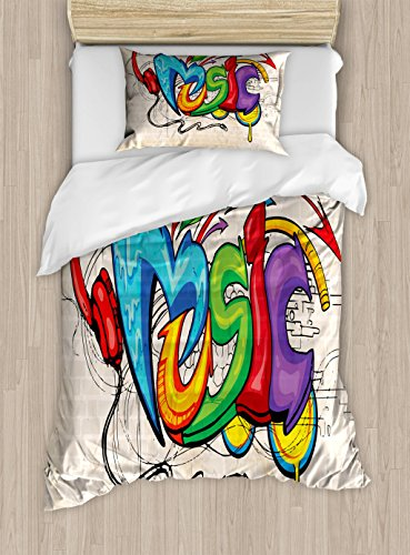 Ambesonne Music Twin Size Duvet Cover Set, Illustration of Graffiti Style Lettering Headphones Hip Hop Theme on Beige Bricks, Decorative 2 Piece Bedding Set with 1 Pillow Sham, Multicolor by Ambesonne (Image #2)