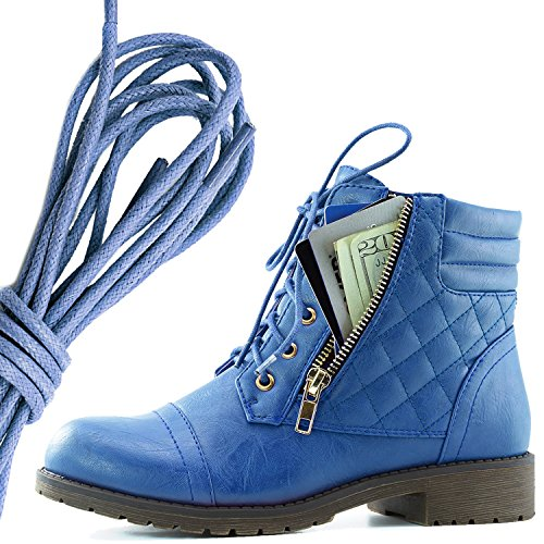 Dailyshoes Donna Militare Allacciatura Fibbia Stivali Da Combattimento Alla Caviglia Alta Tasca Esclusiva Per Carte Di Credito, Blu Royal Blu Pu
