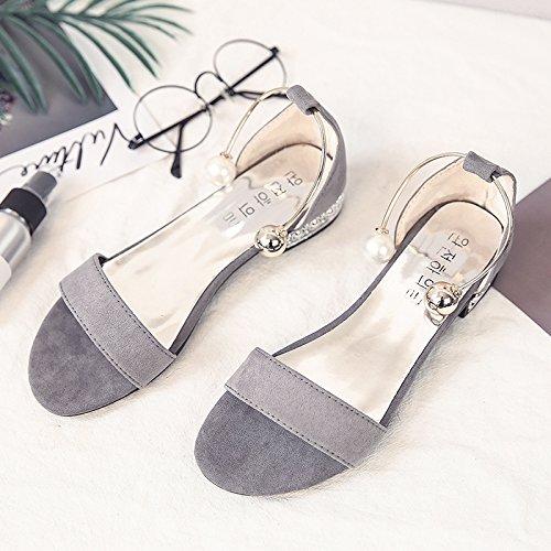 RUGAI-UE Sandalias de fondo plano estudiantes Simple talón plano hebilla Perla Zapatos Zapatos de mujer Gray