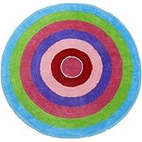 Findfine Soft Circle Rainbow Round Rug Carpet Yoga Mat Non-Slip Rug latex backing 2.6x2.6Feet