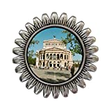 GiftJewelryShop Ancient Style Silver Plate Travel Old Opera House Frankfurt Germany Sunflower Pins Brooch