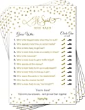 Papery Pop He Said She Said (50 Sheets) - Bridal Shower Games - Wedding Shower Games - Wedding Games - Bachelorette Party Games - Gold