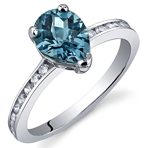 Blue Topaz Pear Ring - London Blue Topaz Ring Sterling Silver Rhodium Nickel Finish Pear Shape 1.25 Carats Size 6