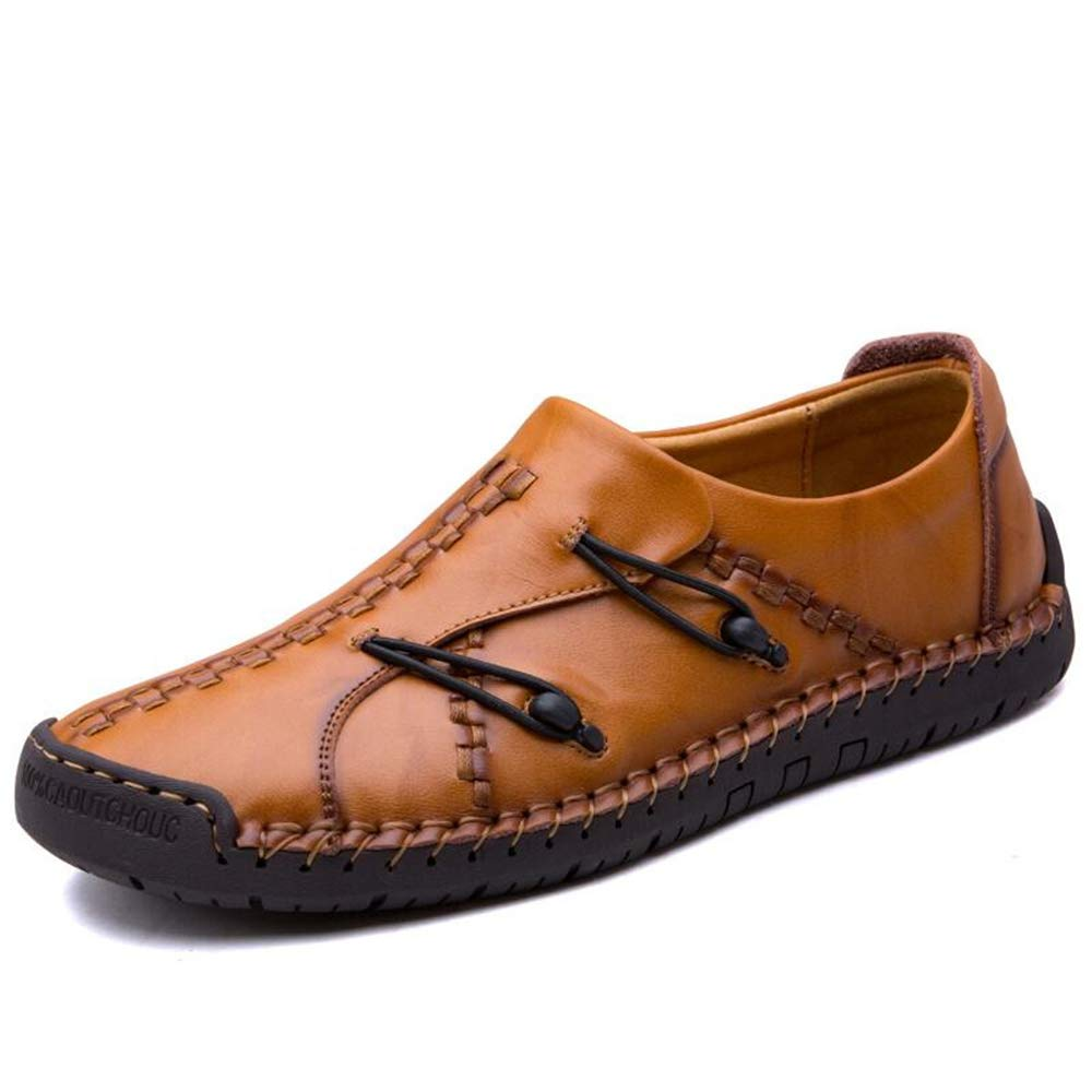 BAIQUAN New Leather Loafers Men's Non-Slip Sneakers Flat Casual Men's Shoes Adult Men's Shoes Shoes Boat Shoes Yellow Brown by BAIQUAN US
