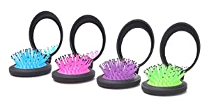 LOUISE MAELYS 4pcs Travel Folding Hair Brush with Mirror Pocket Comb Compact Mirror Brush Bulk Gift Idea