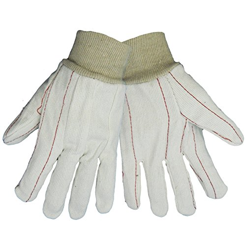 Global Glove C18C 100 Percent Cotton Corded Canvas Glove with Knit Wrist Cuff, Work, Large, Natural (Case of (Corded Canvas Glove)