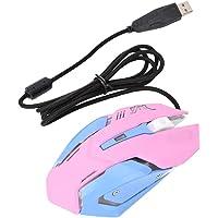 Kafuty Mouse óptico Rosa, 3200DPI Ratón para Juegos de Alta sensibilidad 6 Teclas Ratón cómodo con Cable para…
