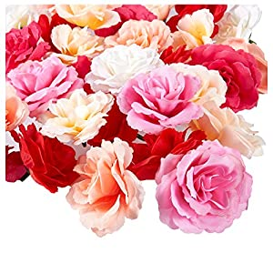 Juvale Artificial Flower Heads - 60-Pack Fake Fabric Flowers for Wedding Decorations, Baby Showers, DIY Crafts, Mixed Colors, 2.7 x 2.7 x 1.6 Inches 115