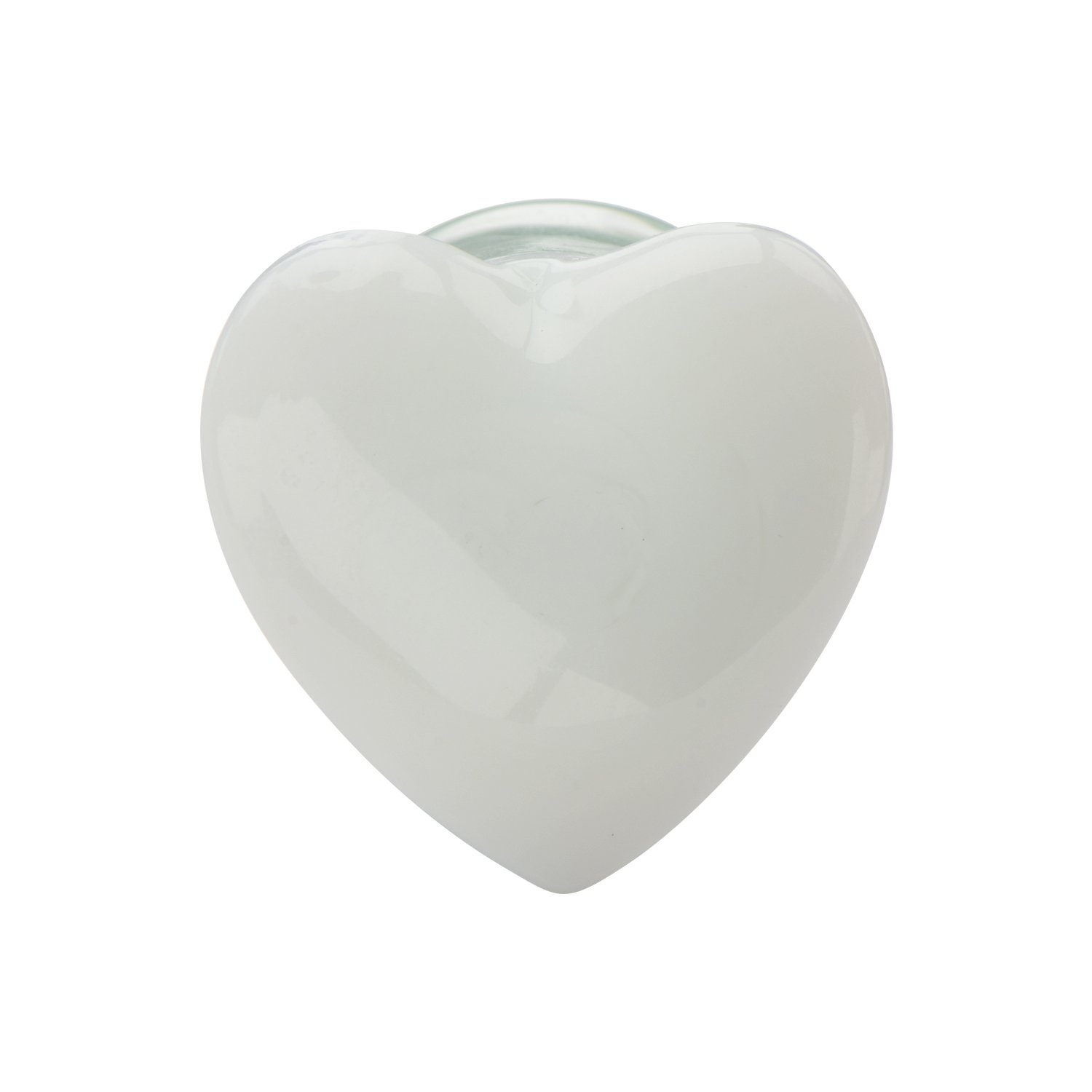 Valentine's Day Jewelry Gifts-Double Flared White Heart Glass Ear Plugs with Clear Saddle