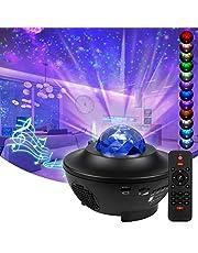 Walmo Projector, sterrenhemel, led, verlichting aan het plafond, nachtlampje voor kinderen met kleurverandering, met timer, bluetooth-luidspreker, afstandsbediening, oceaangolven, sfeer voor Valentijnsdag en Kerstmis