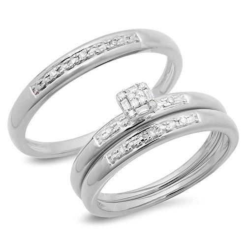Dazzlingrock Collection 0.15 Carat (ctw) 10K Round & Baguette Diamond Men & Women's Cluster Engagement Ring Trio Set, White Gold