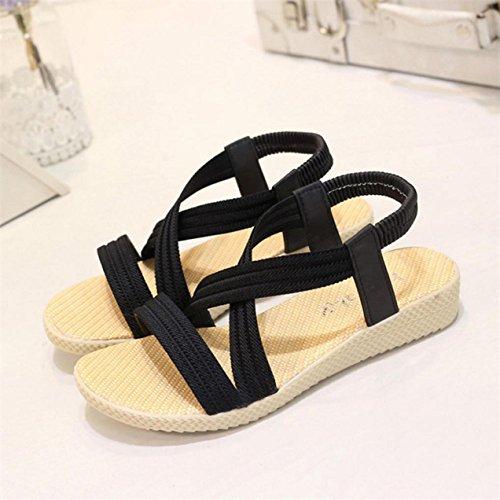 Sandalias de verano, Internet Sandalias de las mujeres de ocio vendaje plana Negro