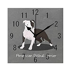 YABABY Square Wall Clock Battery Operated Quartz Analog Quiet Desk 8 Inch Clock, American Pitbull Terrier Pet Cartoon Illustration Graphic Design on Grey Background 23